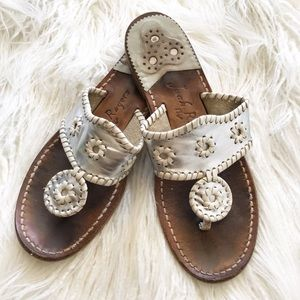"JACK ROGERS ""Navajo"" silver and white sandals"